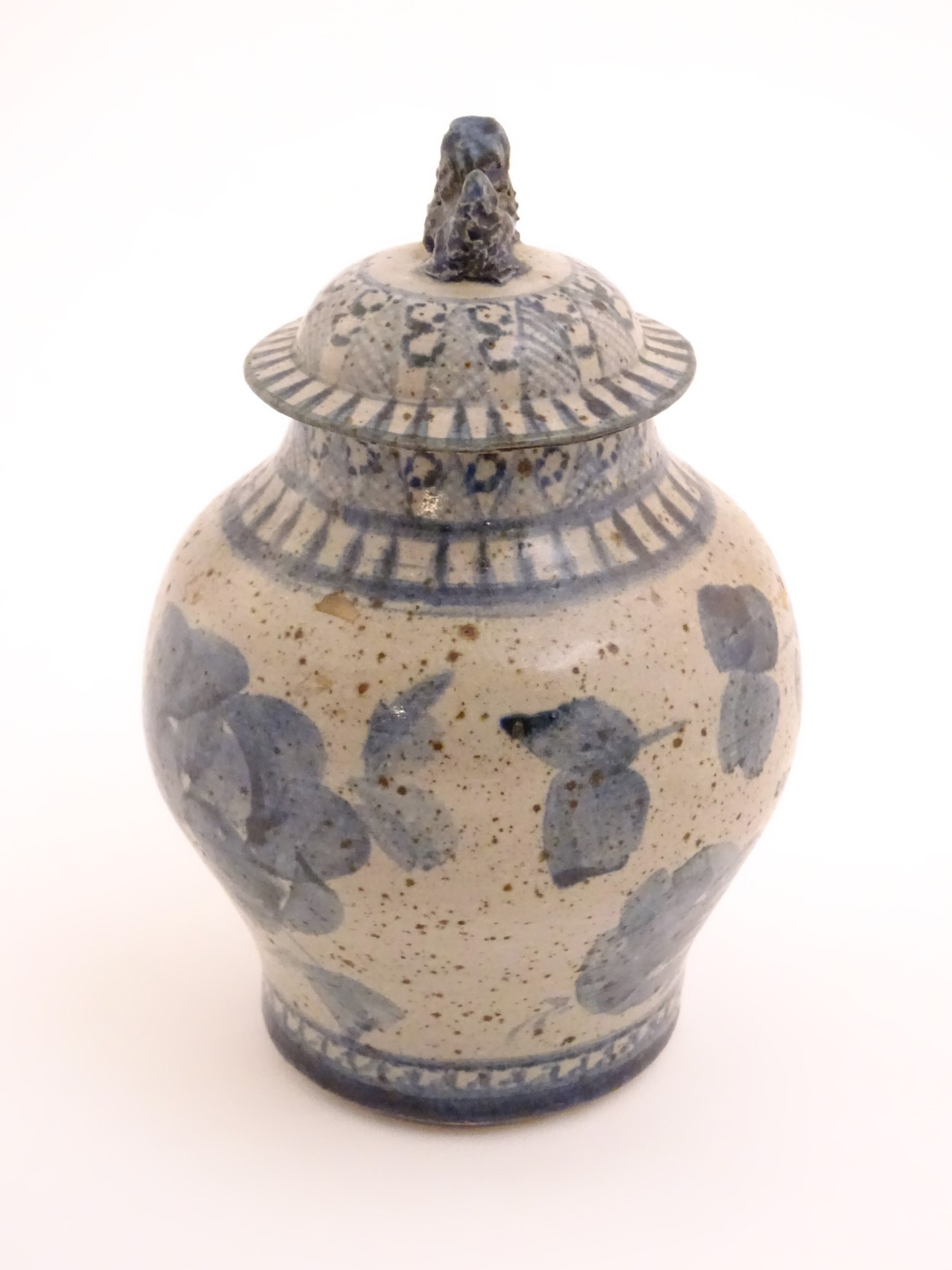 Lot 40 - An oriental blue stoneware ginger jar with a foo dog to the top of the lid CONDITION:
