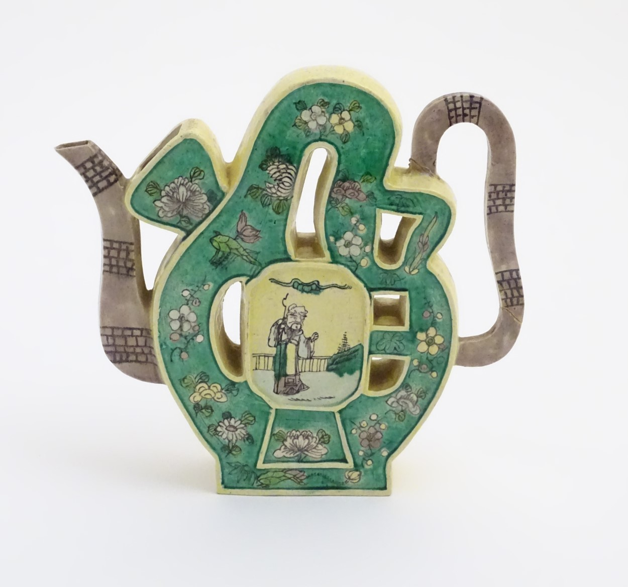 Lot 13 - A Chinese Kangxi flat wine ewer with famille verte hand painted decoration and raised panels to