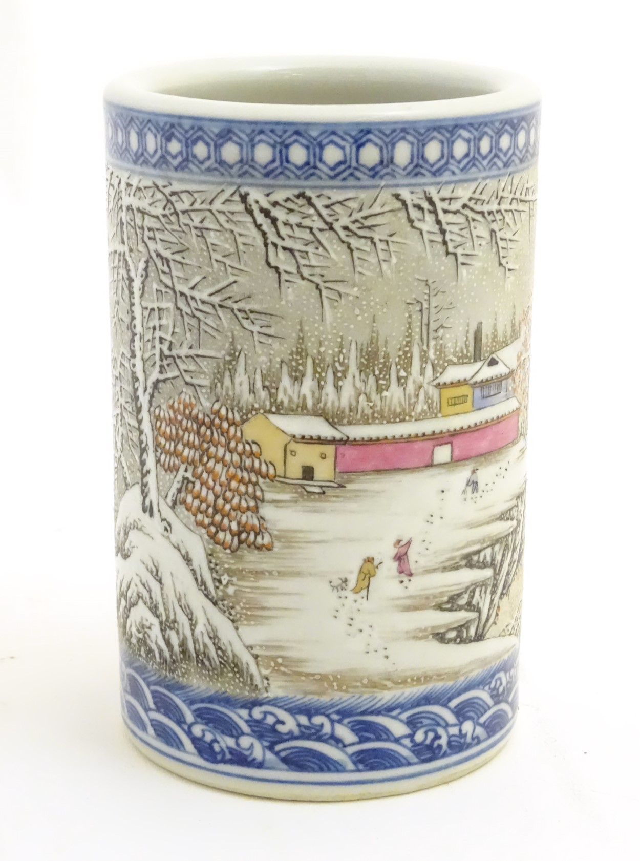 Lot 5 - A Chinese famille rose brush pot depicting a winter/snowy landscape,
