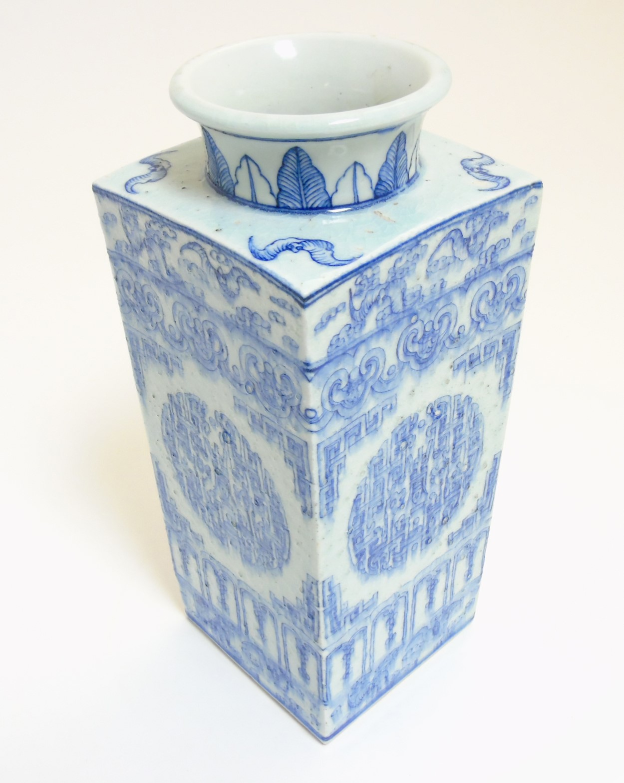 Lot 25 - A Chinese blue and white Cong shaped vase,
