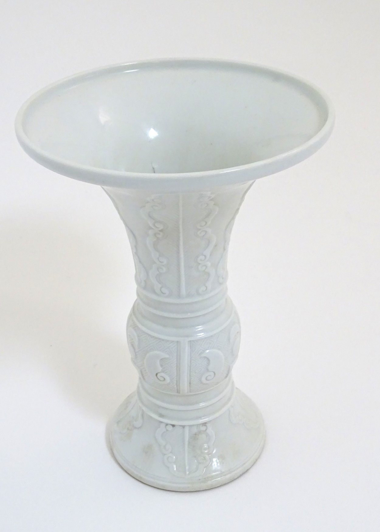 A Chinese white glazed Gu vase of archaic bronze design, - Image 4 of 8
