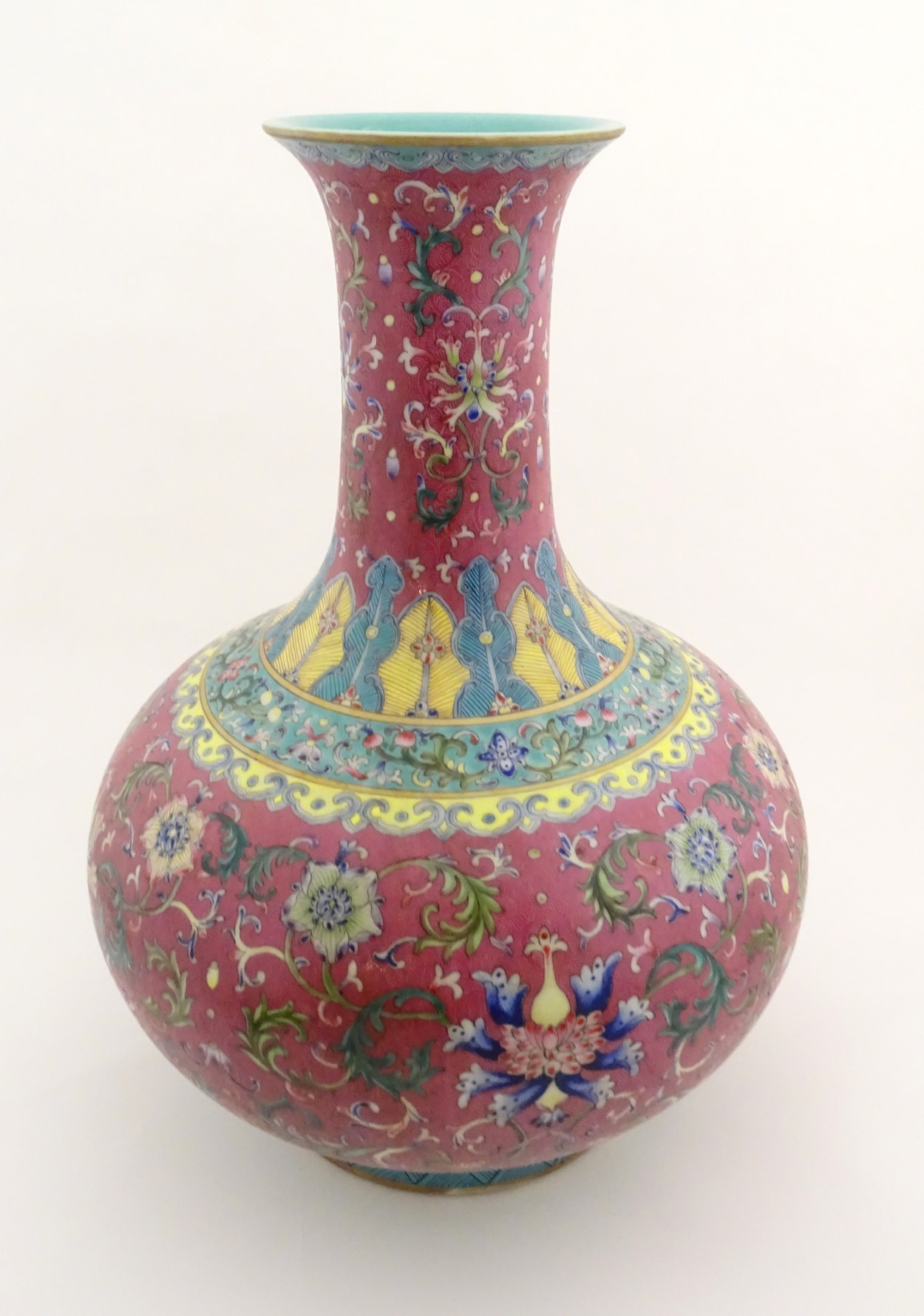 Lot 47 - A Chinese famille rose baluster vase decorated with flowers and foliage,