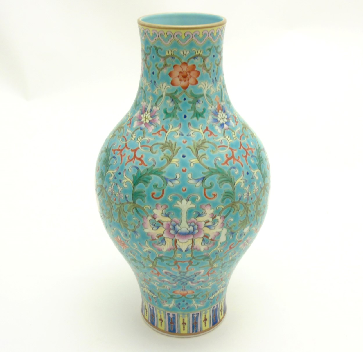 Lot 31 - A Chinese Famille Rose turquoise-ground cloisonné-imitation vase, with round bulbous body to centre,