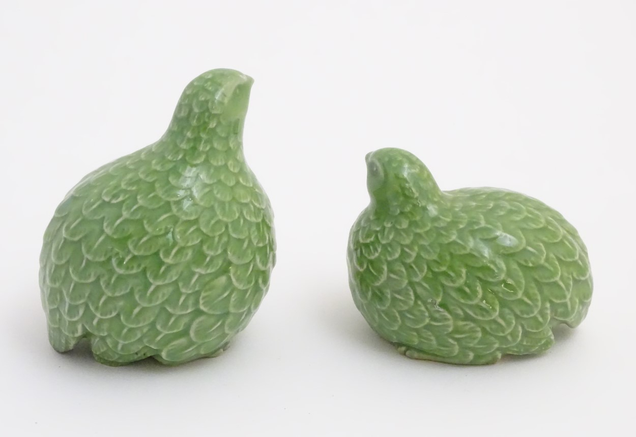"Lot 16 - Two oriental green quail figures. Height of tallest quail: approx. 4 1/2""."