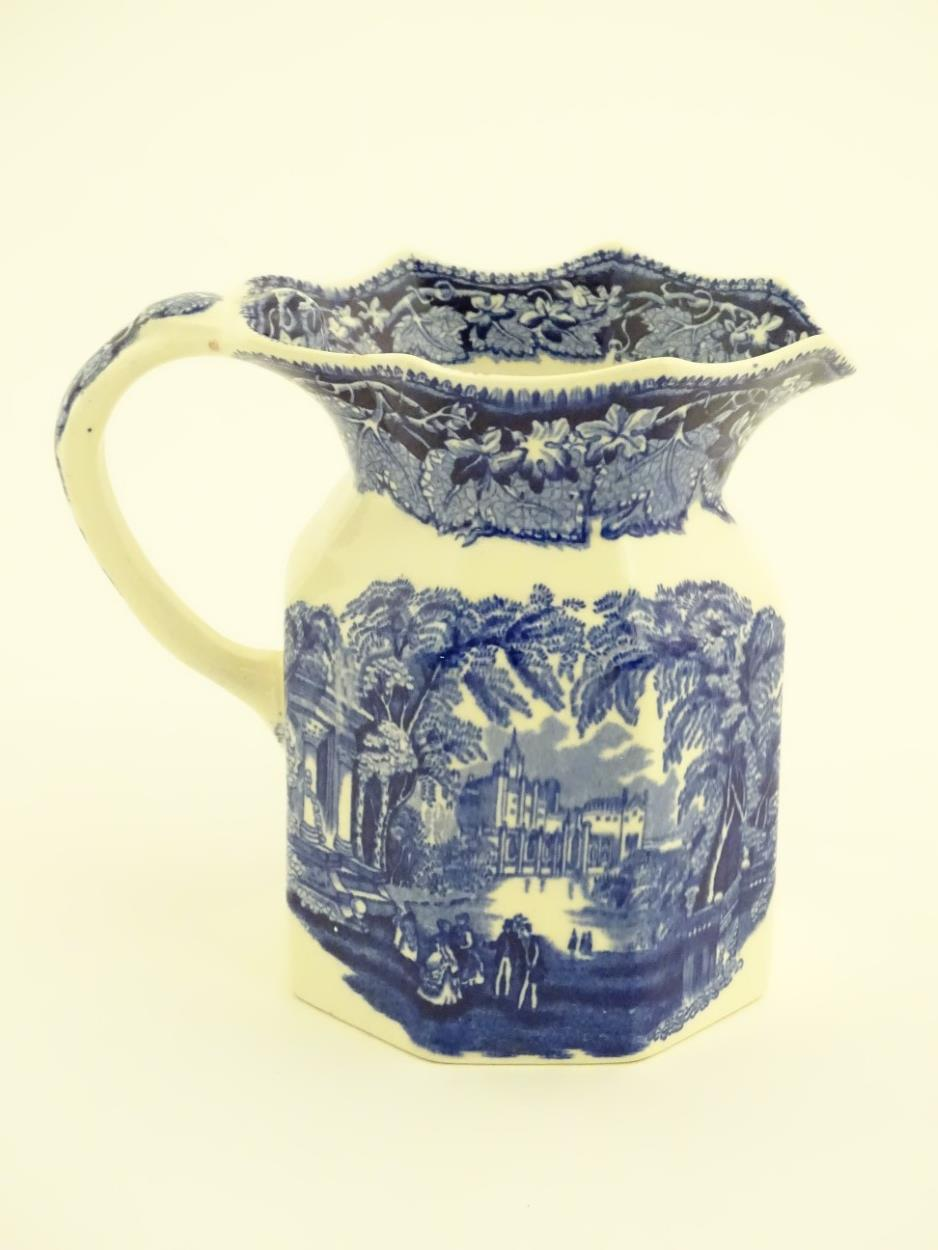Lot 57 - A Mason's blue and white octagonal baluster jug with a frilled rim decorated with the 'Vista'
