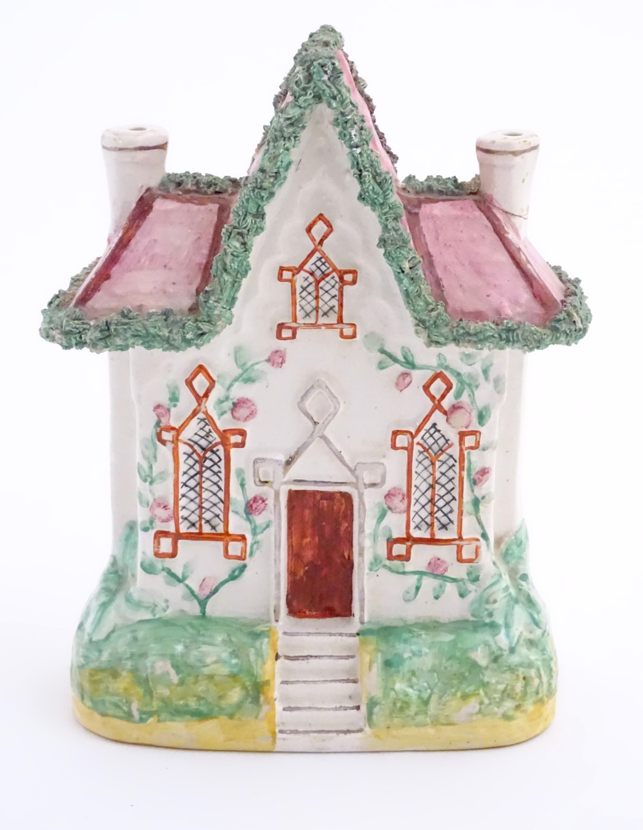 "Lot 52 - A Staffordshire pottery model of a flat back house. Approx. 8 ½"" high x 6"" wide."
