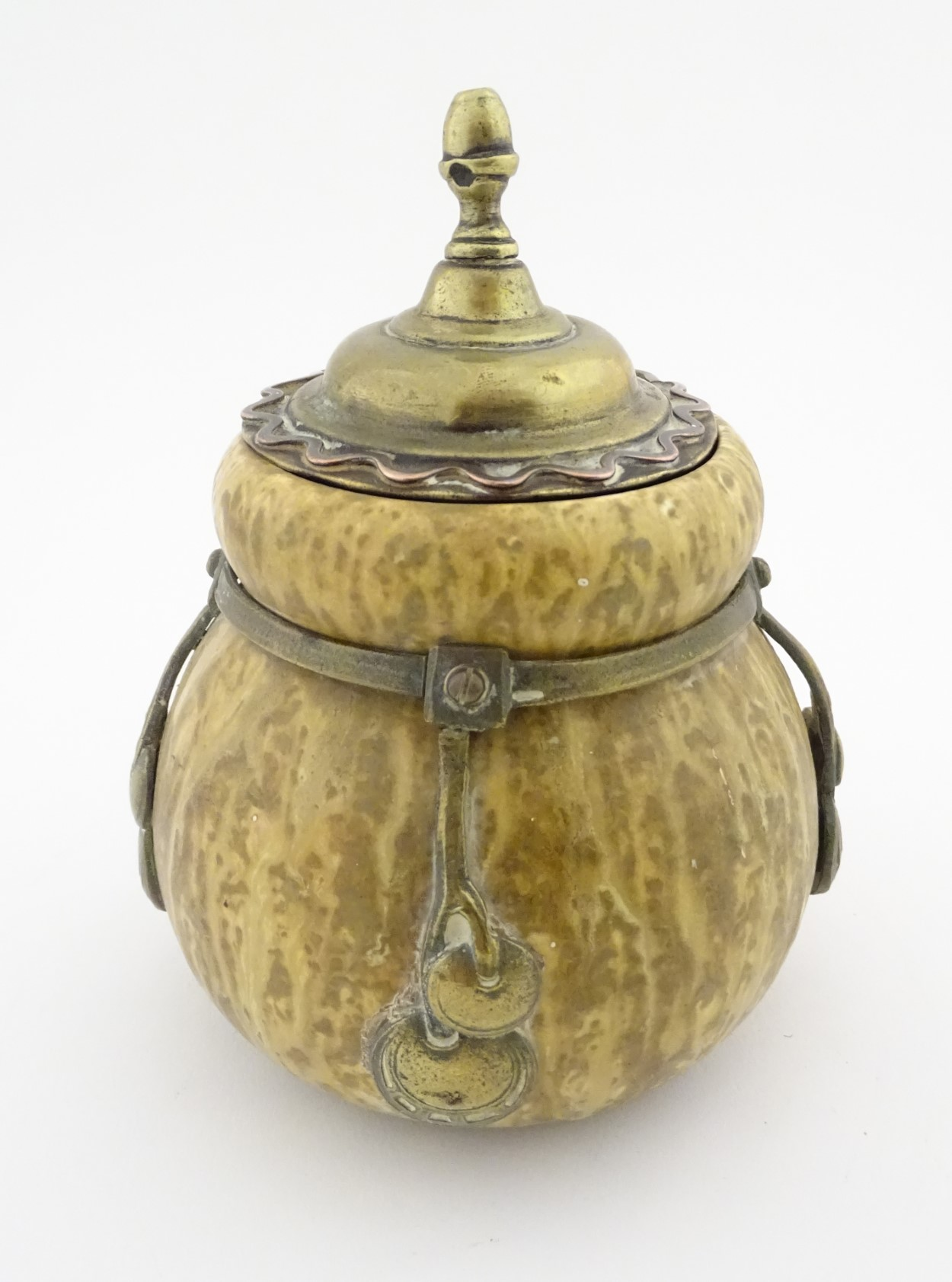 Lot 59 - A Continental Amphora gourd shaped pot, glazed in mottled cream glazes,