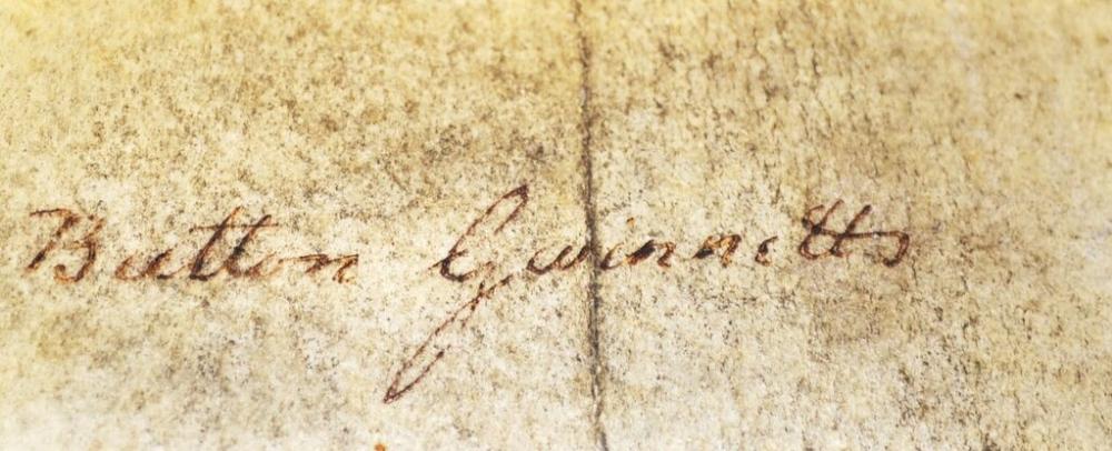 Lot 519 - Rare Button Gwinnett 1735-1777 Signature an Englishman born in Gloucester, emigrated to Georgia