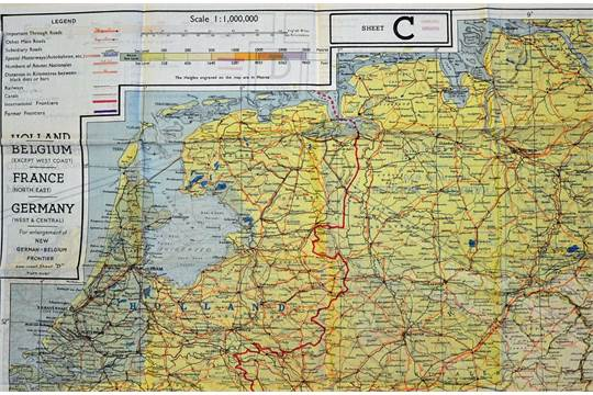Map Of Northern France Belgium.Wwii Raf Escape Map Of Holland Belgium North East France And West
