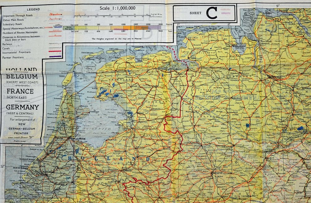Map Of France And Holland Belgium.Wwii Raf Escape Map Of Holland Belgium North East France And West