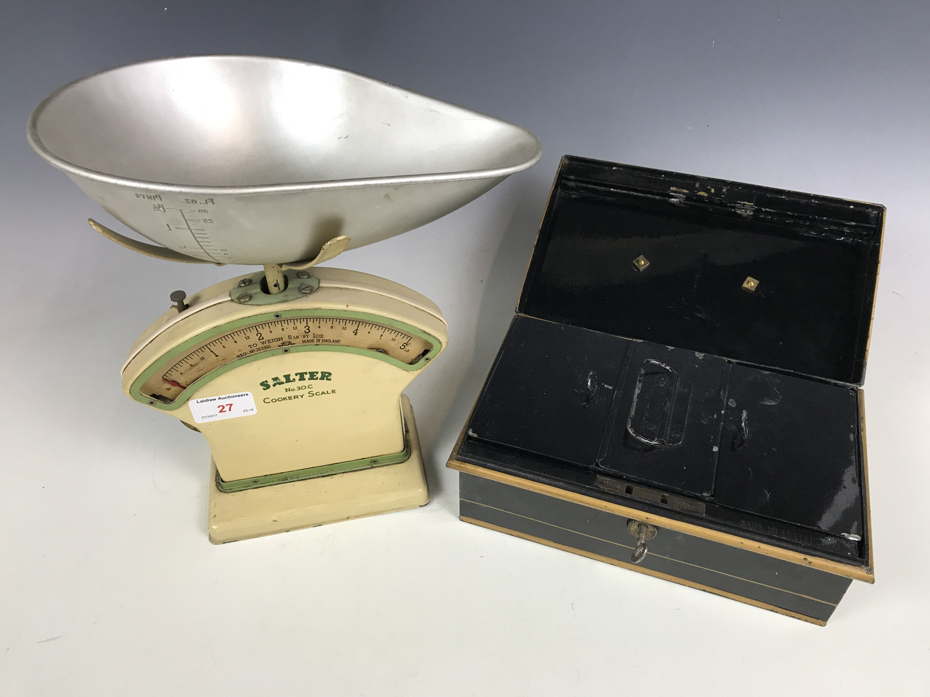 Lot 27 - A vintage set of Salter No 30L cookery scales together with a cash box