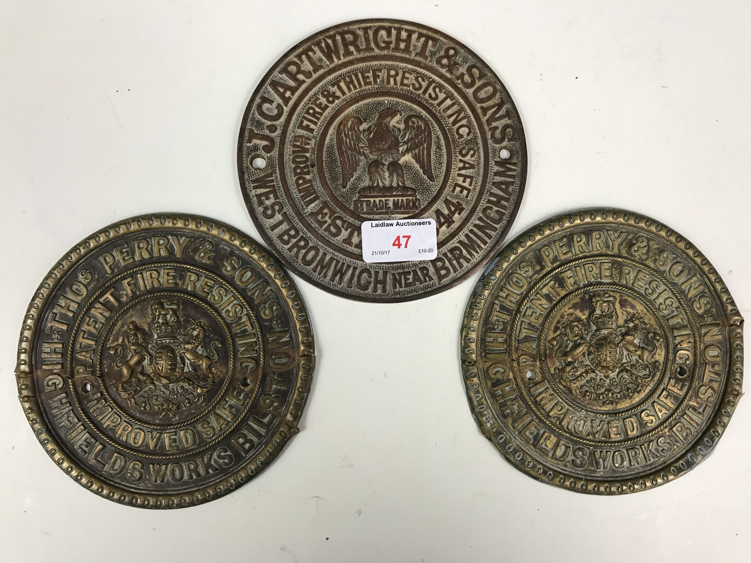 Lot 47 - Two brass safe plaques and one other