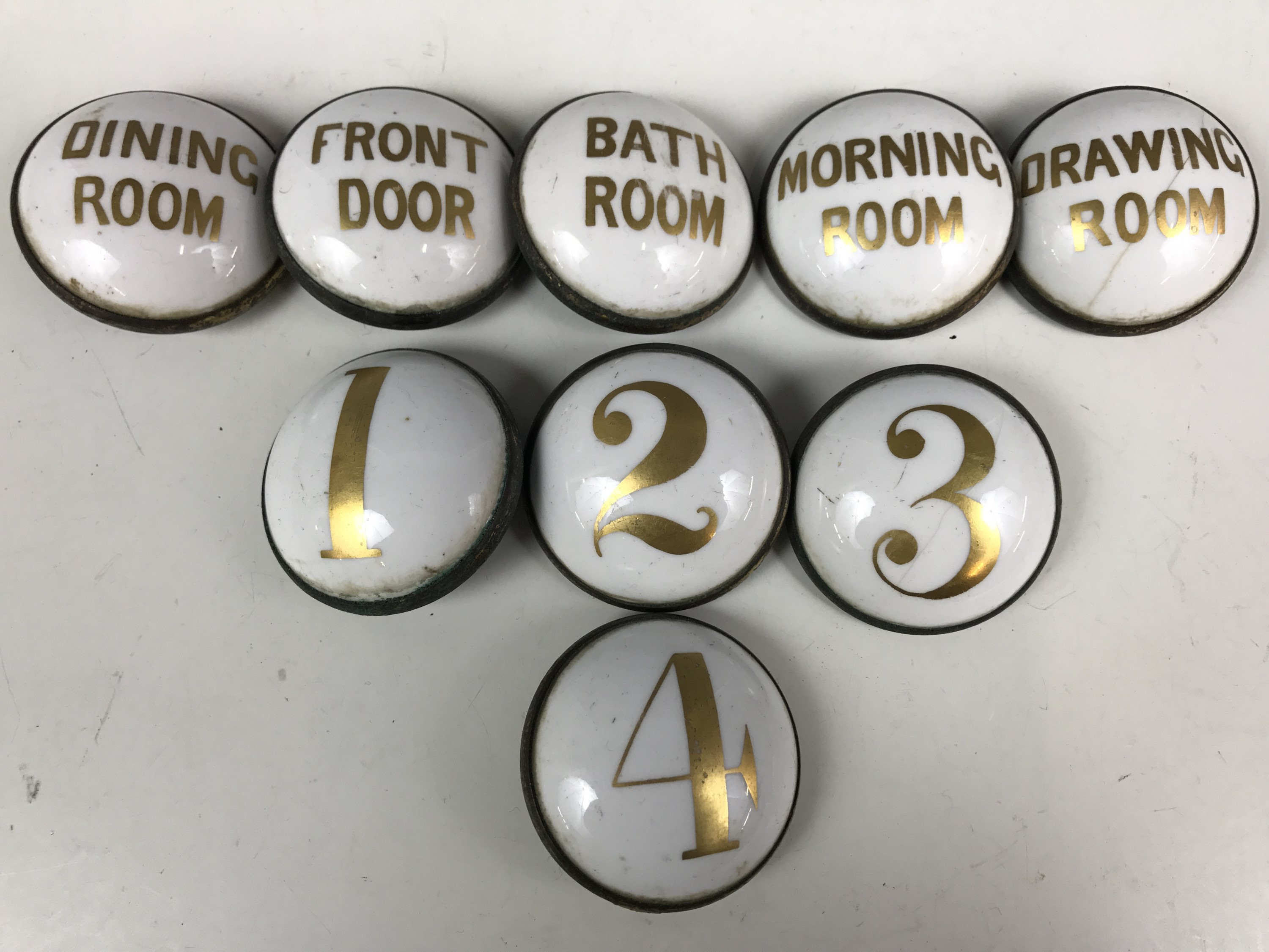 Lot 41 - A quantity of Victorian ceramic household room bell indicators