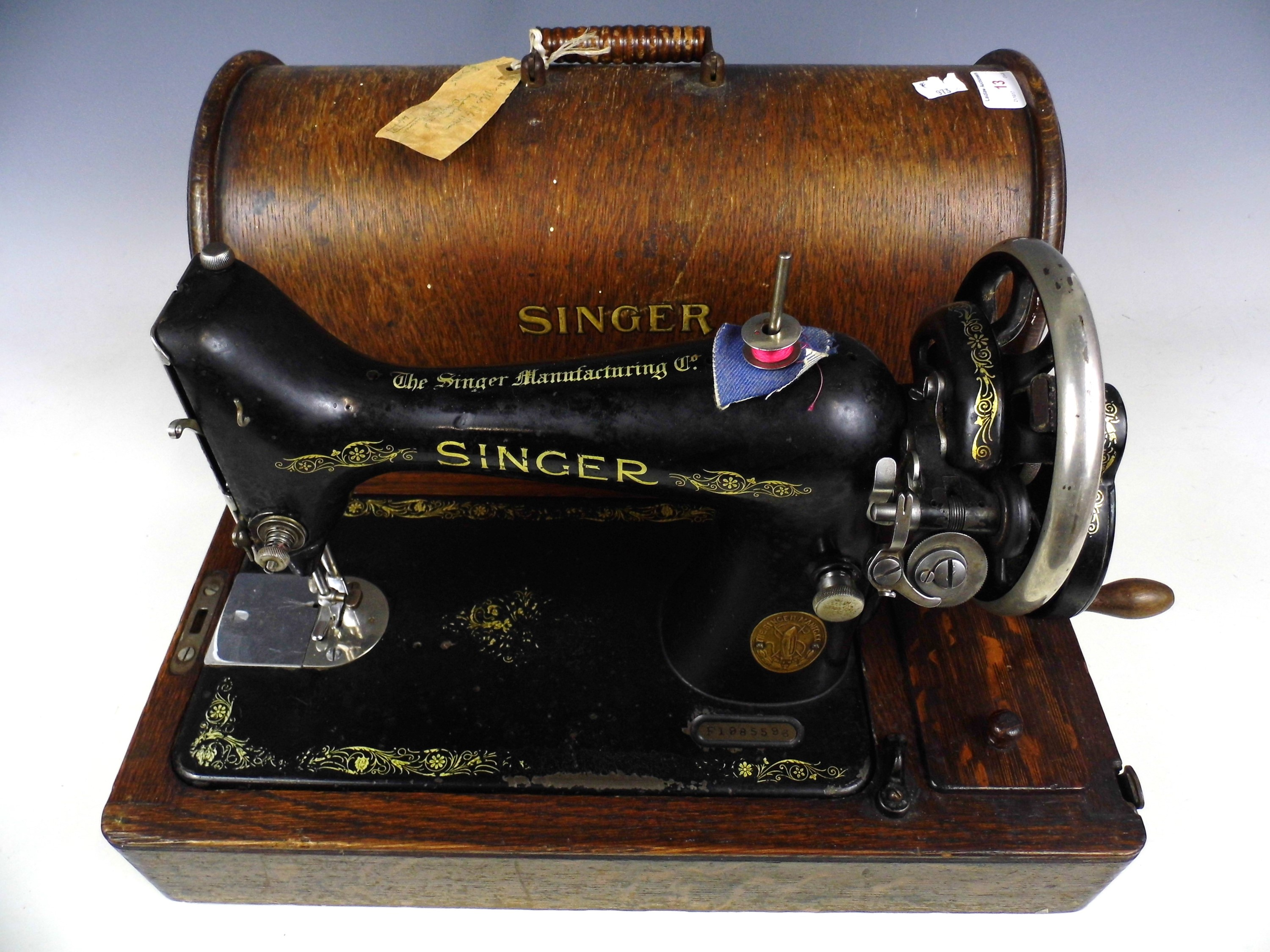 Lot 13 - A vintage Singer sewing machine