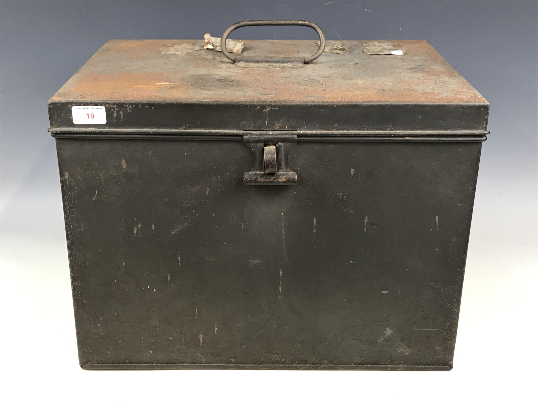 Lot 19 - A vintage tin deeds box