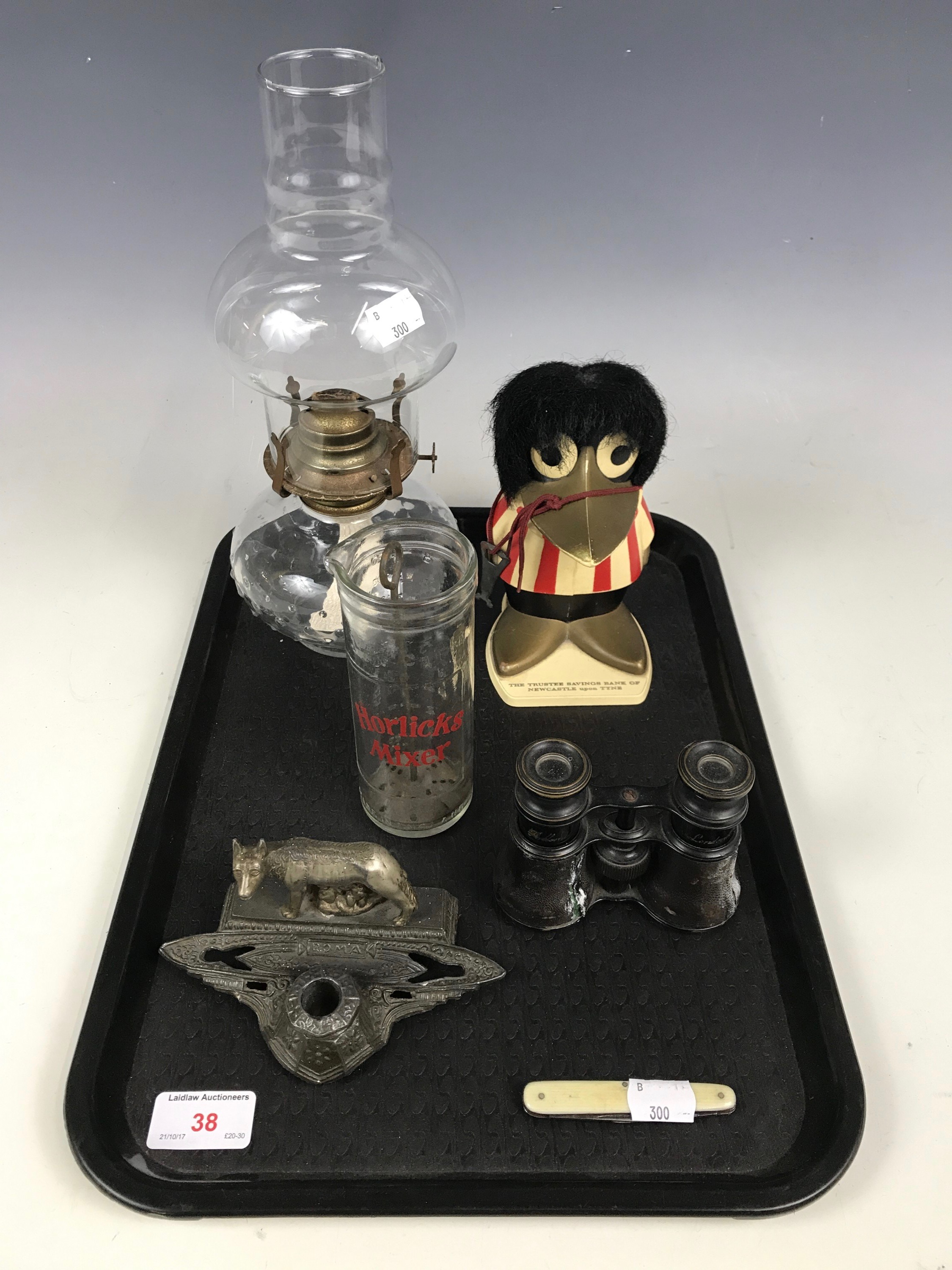 Lot 38 - Sundry collectors' items including an ink standish, an oil lamp, a pair of Dolland field glasses and