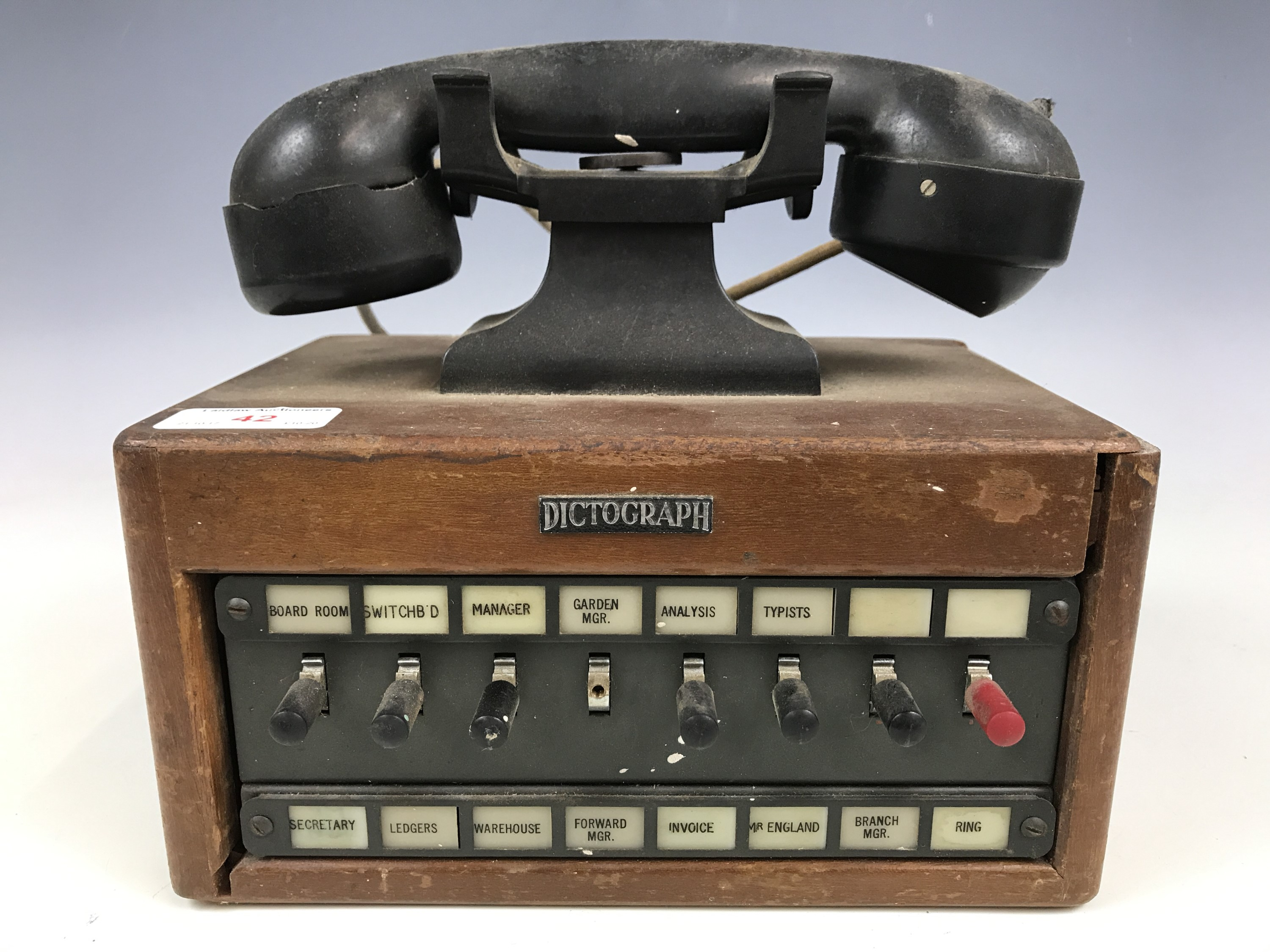 Lot 42 - A Vintage Dictograph exchange telephone (a/f)