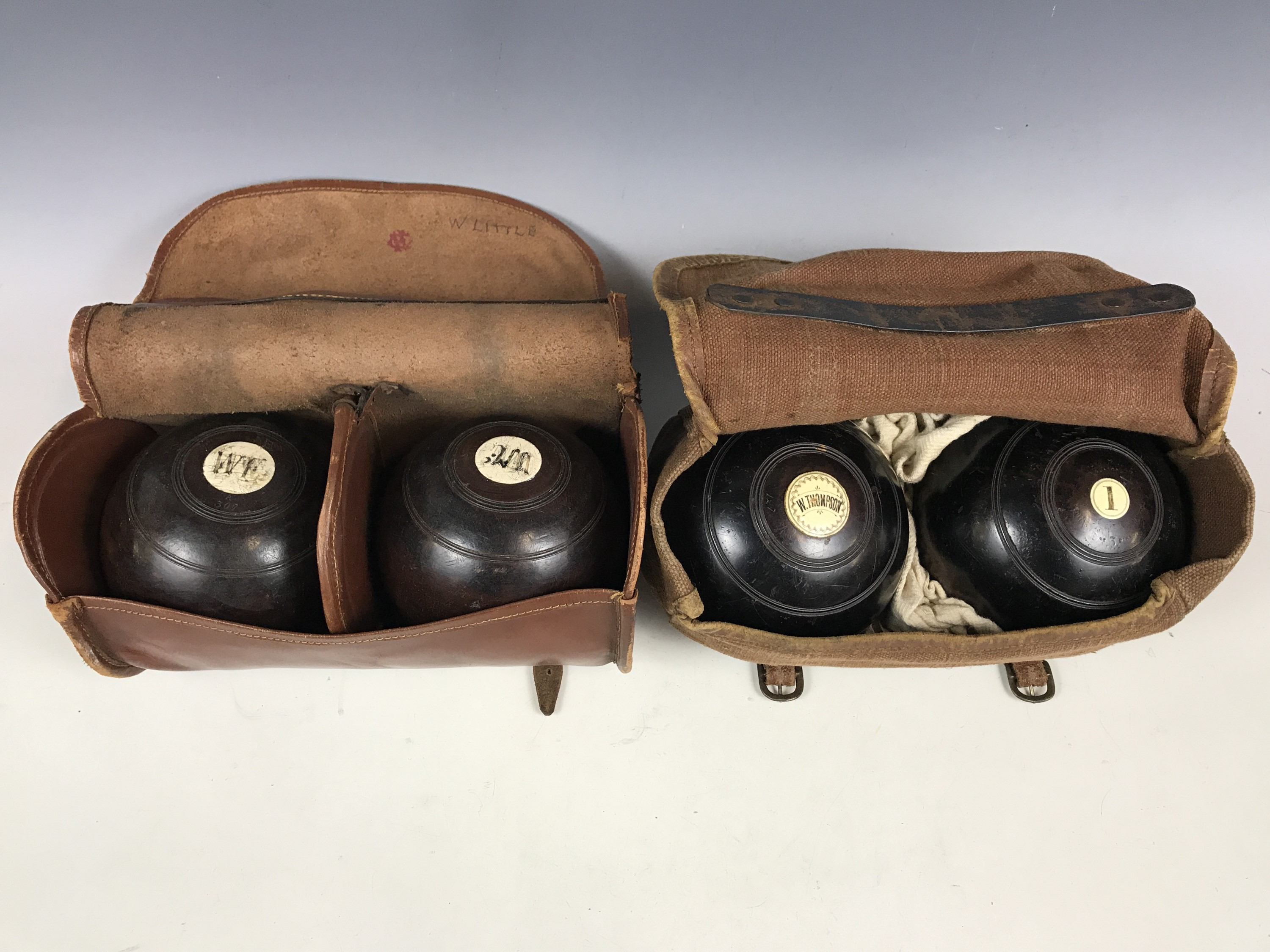 Lot 56 - Two pairs of vintage bowling woods
