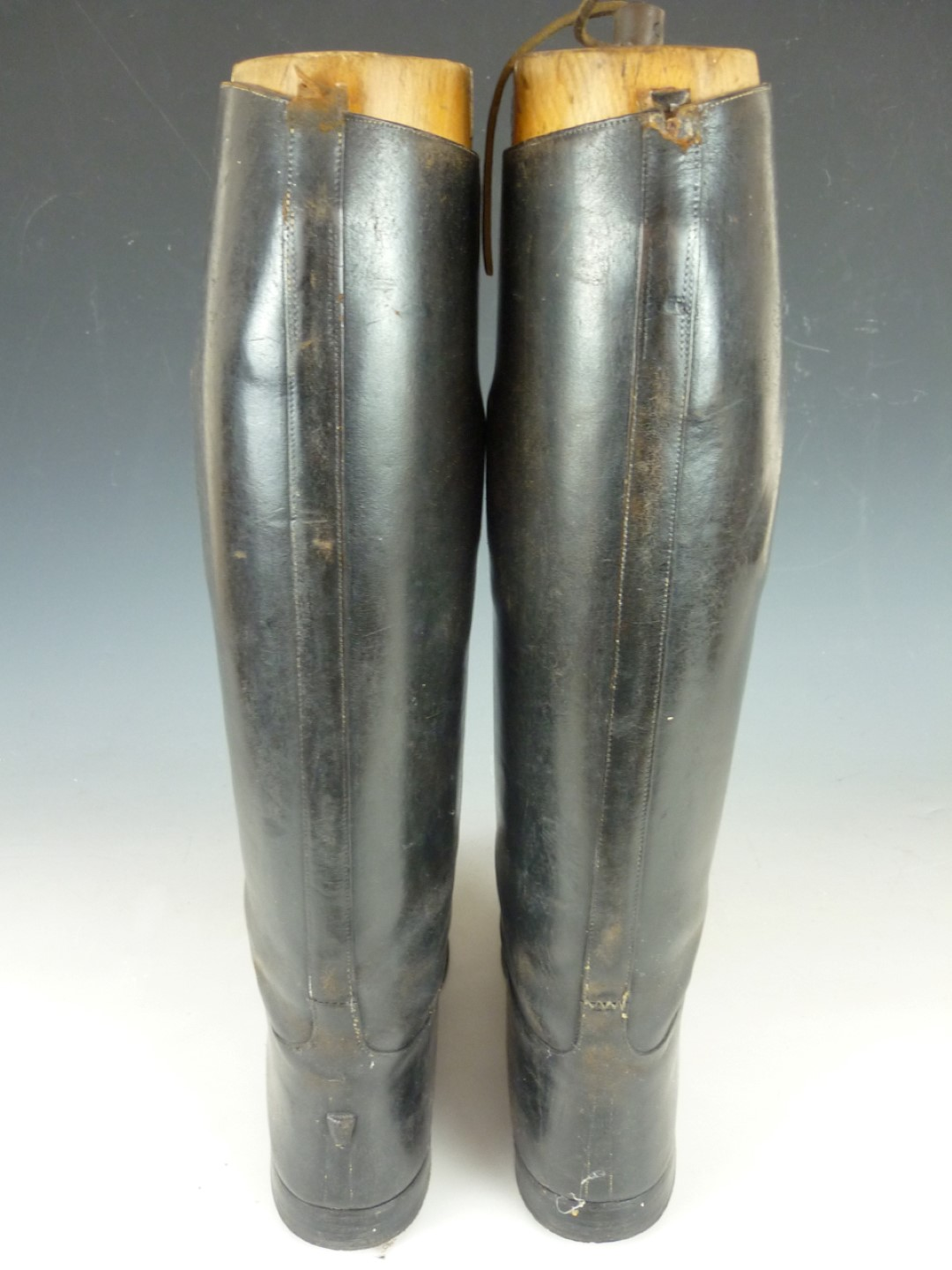 Lot 66 - A pair of Victorian cavalry officer's boots with brass and wood trees, the latter engraved H W