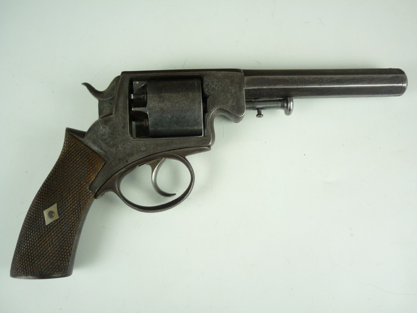 """Lot 118 - A cased Webley patent solid frame double-action percussion 5-shot revolver, having 6"""" 54 bore barrel"""