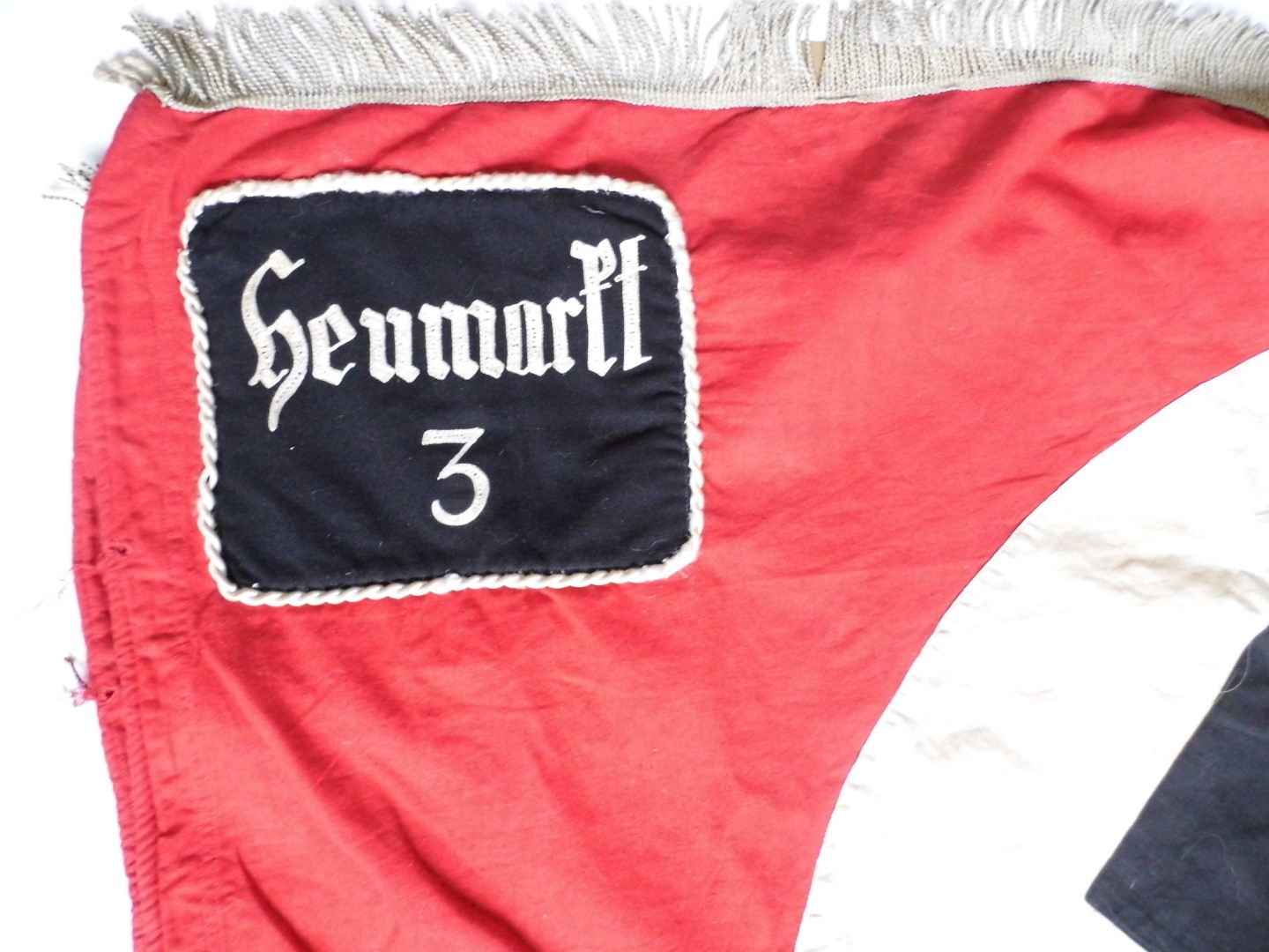 Lot 61 - A German Third Reich NSBO Heumarkt unit banner, of multi-piece construction and comprising the state
