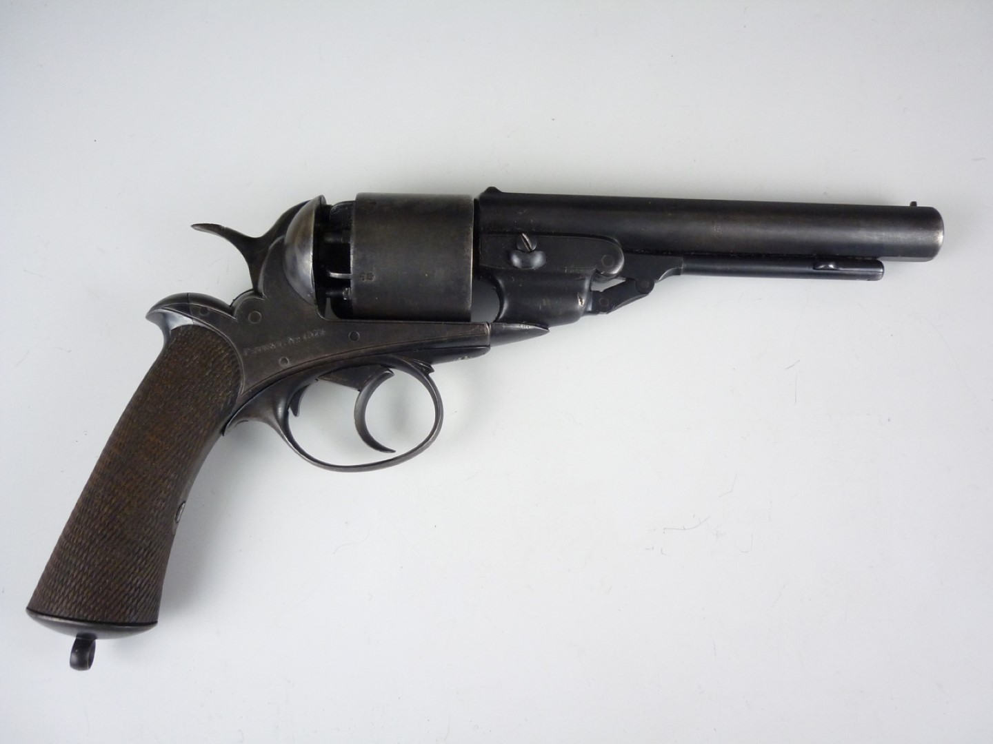 Lot 115 - A Victorian 5-shot open-frame patent percussion revolver by George H Daw, 57 Threadneedle Street,