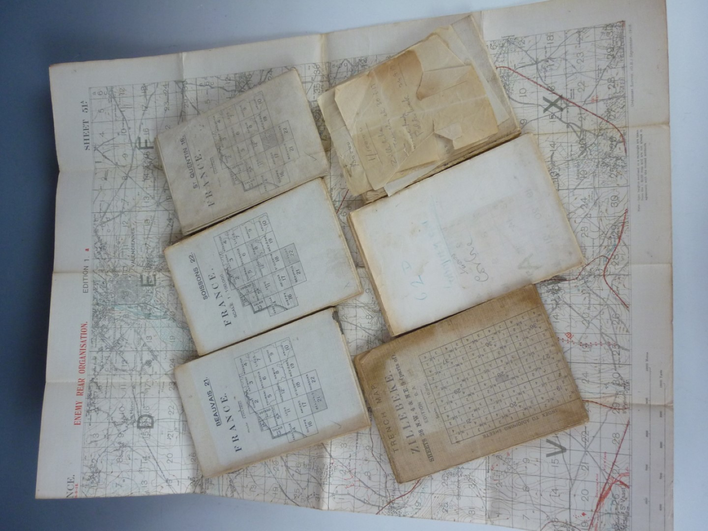 Lot 69 - A First World War trench map of Zillebeke and six other War Office / Ordnance maps of France bearing