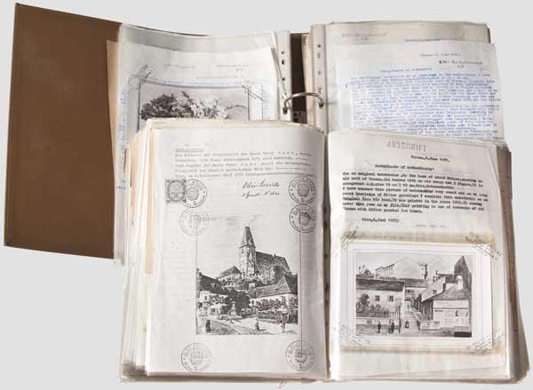 Peter Jahn, Wien - zwei Aktenordner mit über 200 Gutachten zu Aquarellen und Zeichnungen Hitlers