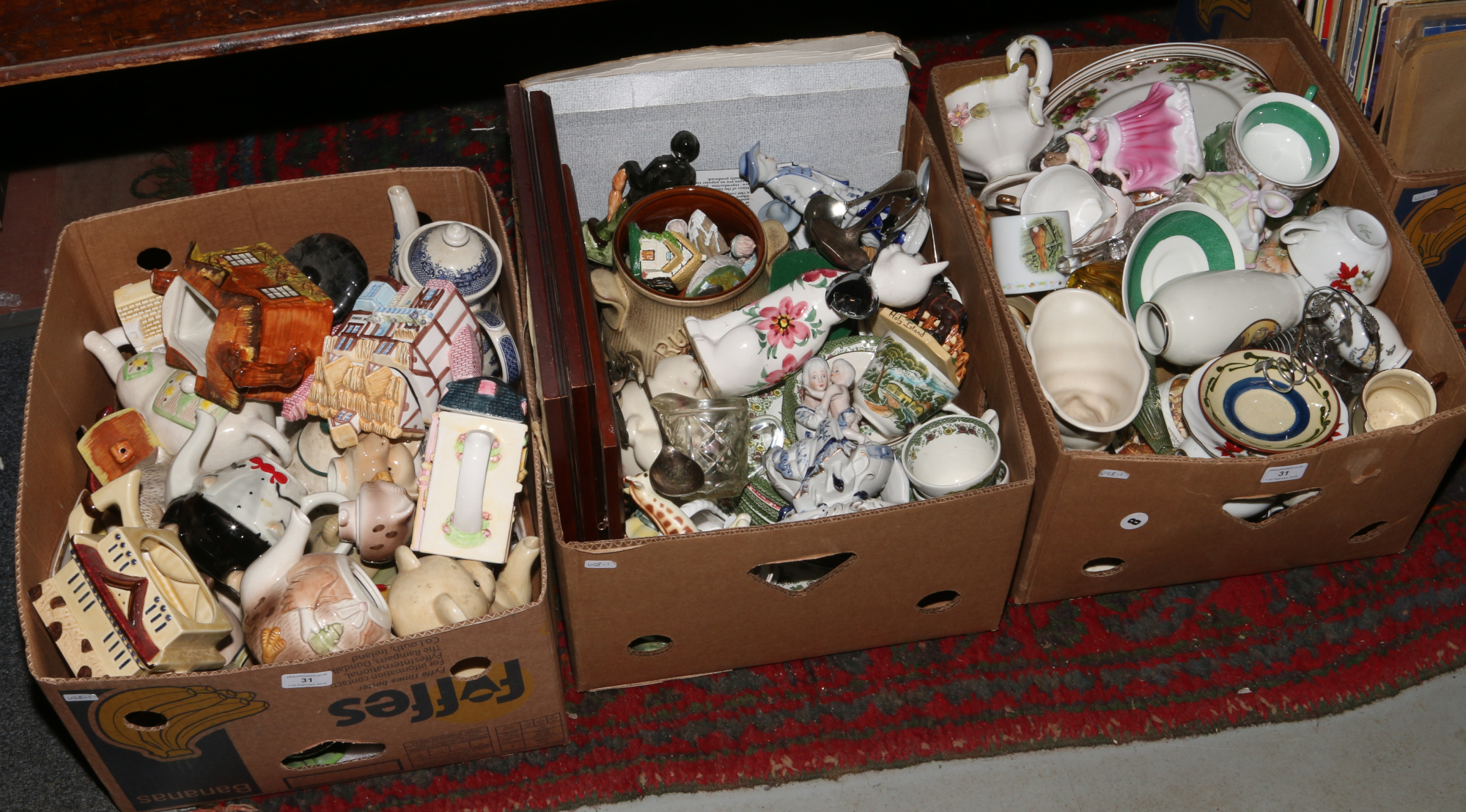 Lot 31 - Three boxes of miscellaneous to include Torquay ware, novelty tea pots, Royal Albert Old Country