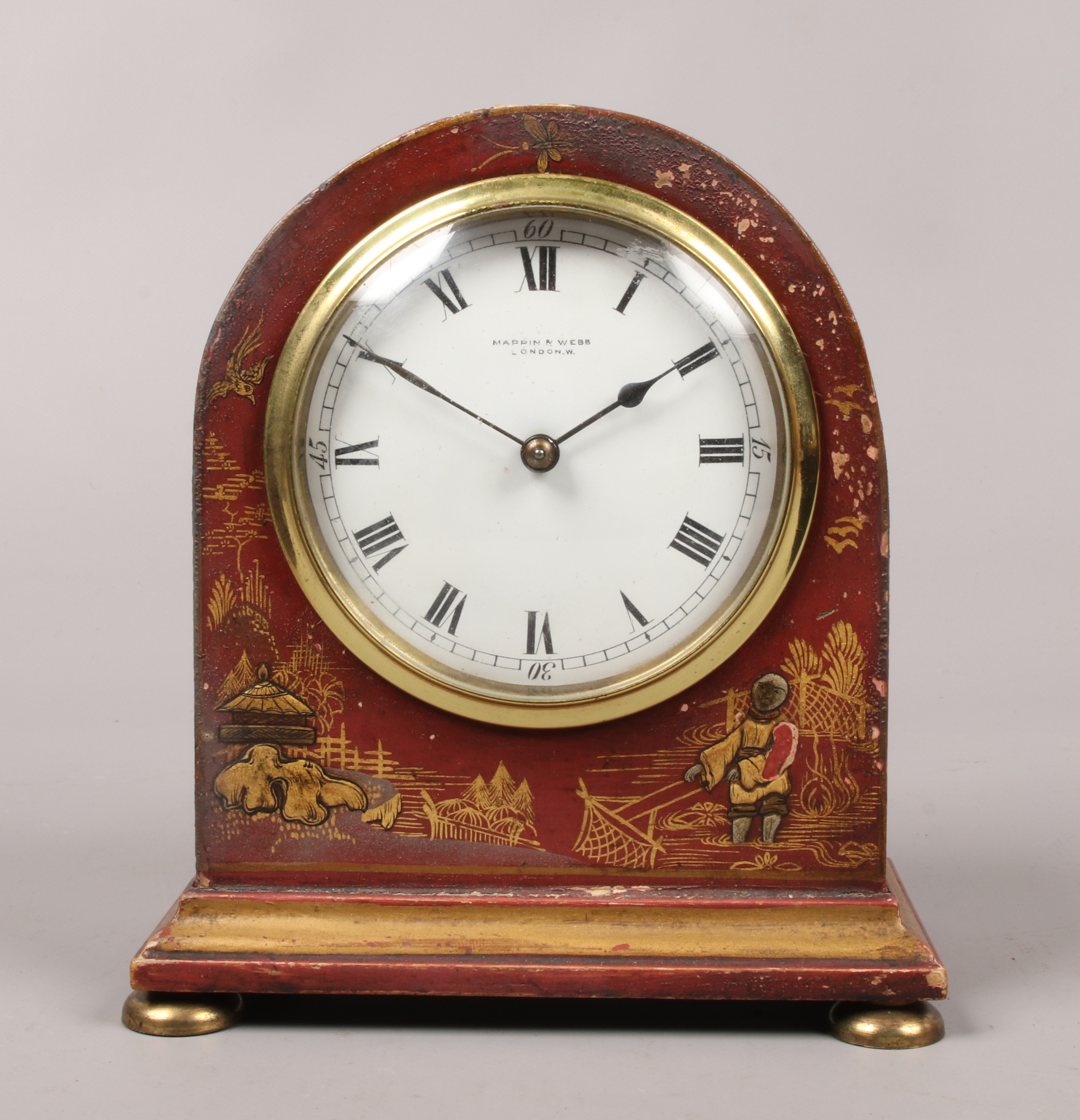 Lot 13 - An early 20th century chinoiserie 8 day mantle clock by Mappin & Webb the case decorated red and