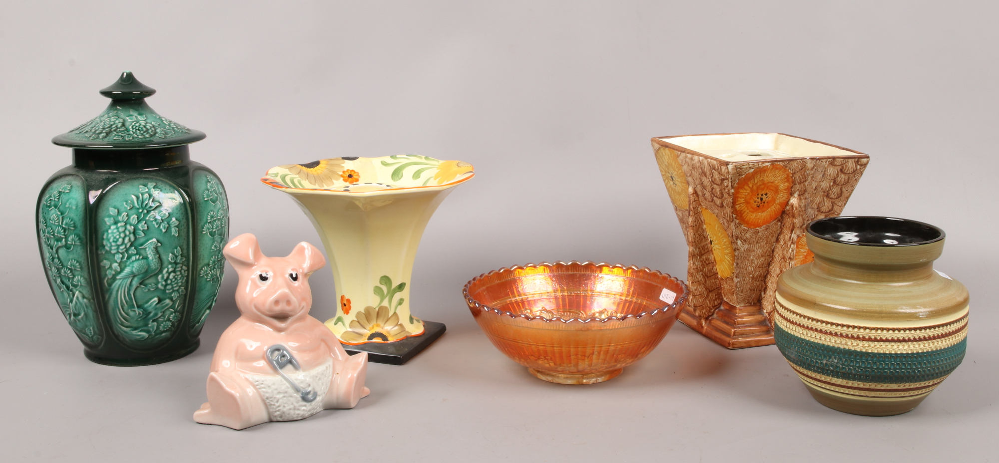 Lot 37 - A group of collectables to include West German pottery, Sylvac, Natwest Wade pig, carnival glass