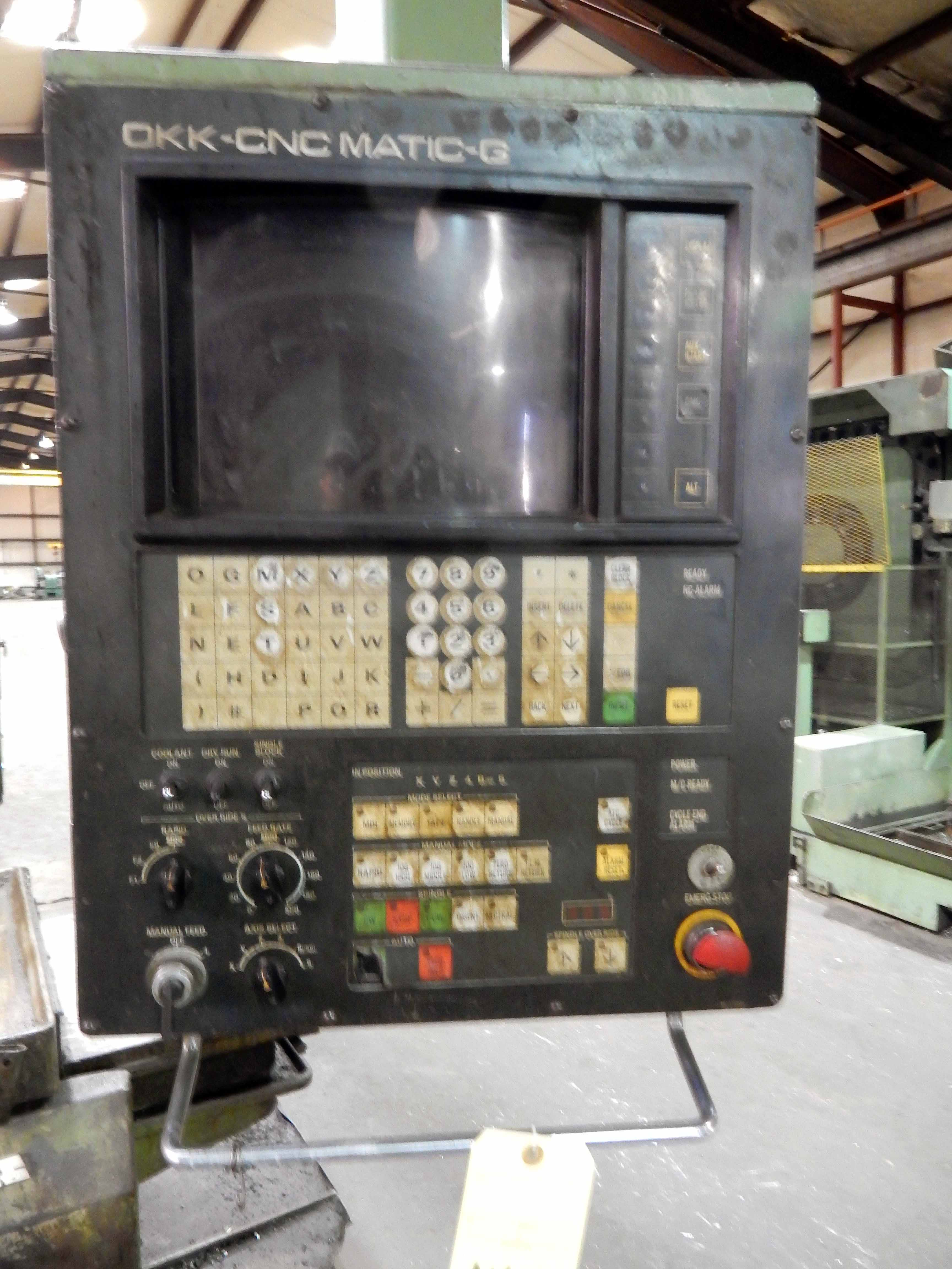 "Lot 42 - CNC VERTICAL MACHINING CENTER, OKK, OKK Matic-G CNC control, 32"" x 78"" table, 30 pos. tool"