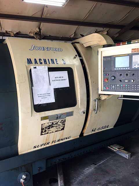 "Lot 14 - CNC LATHE, JOHNFORD 22.8"" X 60"" MDL. SL-65A 2-AXIS, new 2003, Fanuc Oi-T CNC control, 12"" chuck, 4."