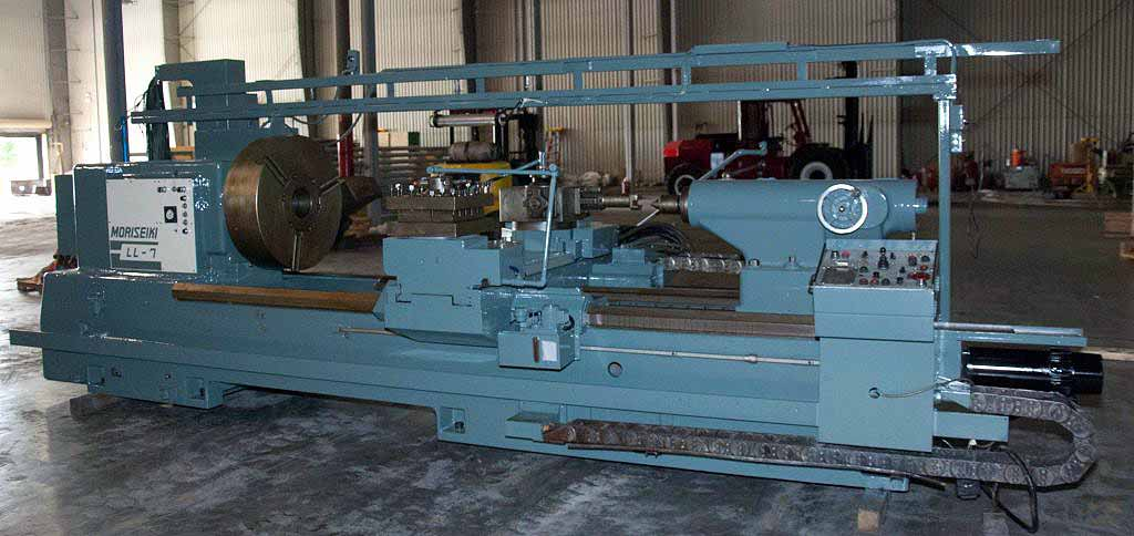 "Lot 17 - CNC SLANT BED LATHE, MORI SEIKI MDL. LL-7, Fanuc 6TB CNC control, 42.9"" sw. over bed, 20.4"" sw. over"