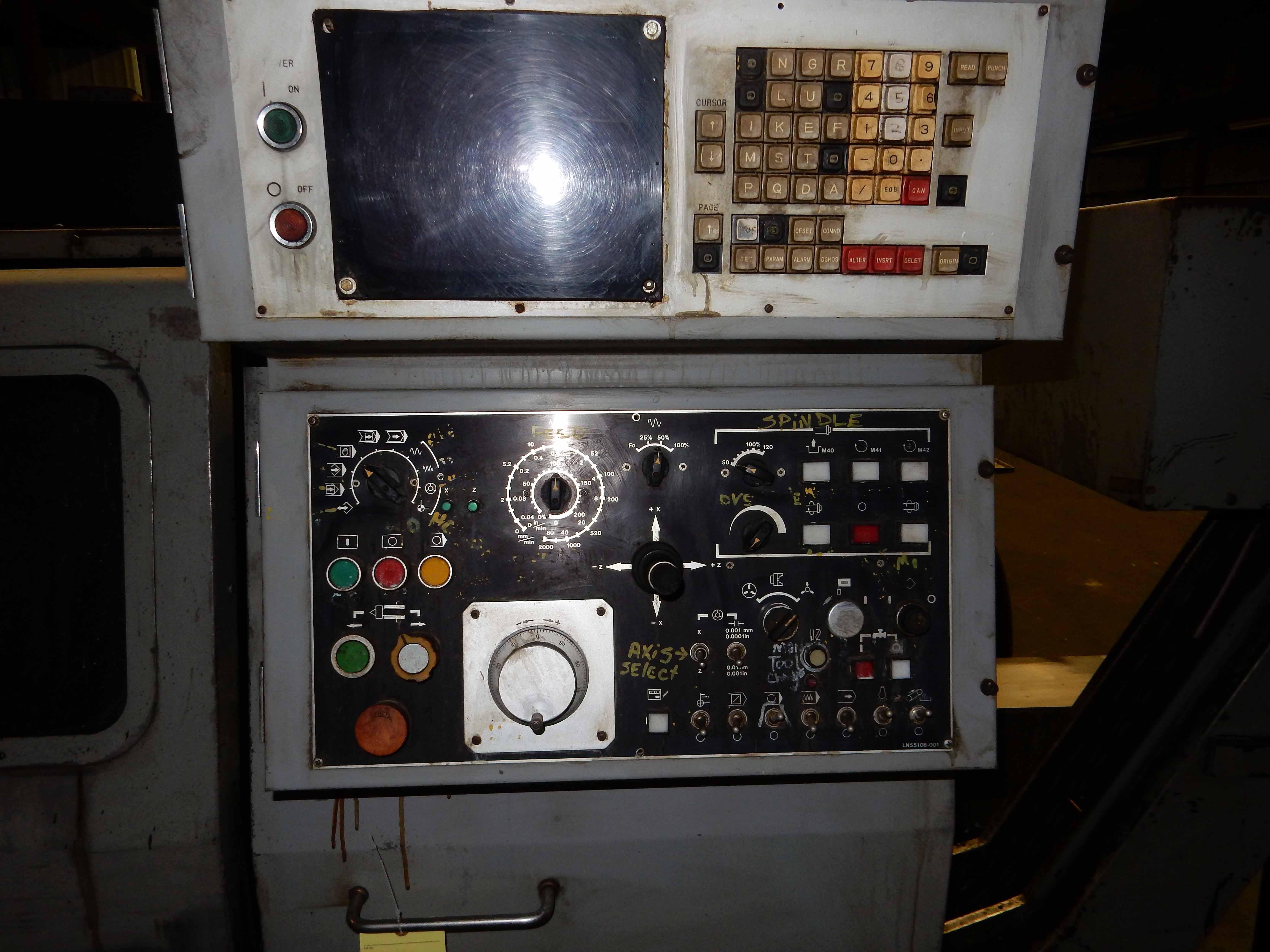 "Lot 44 - CNC LATHE, TAKISAWA MDL. DTX-3, 15"" dia. 3-jaw chuck, 8 pos. turret, Machine No. TLNN0226 (currently"