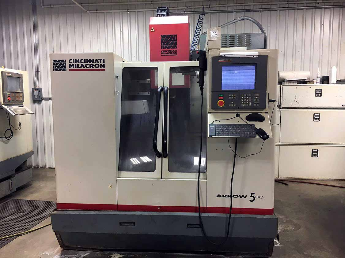 Lot 20 - CNC VERTICAL MACHINING CENTER, CINCINNATI ARROW MDL. VMC-500E, new 1997, Acramatic 2100 CNC