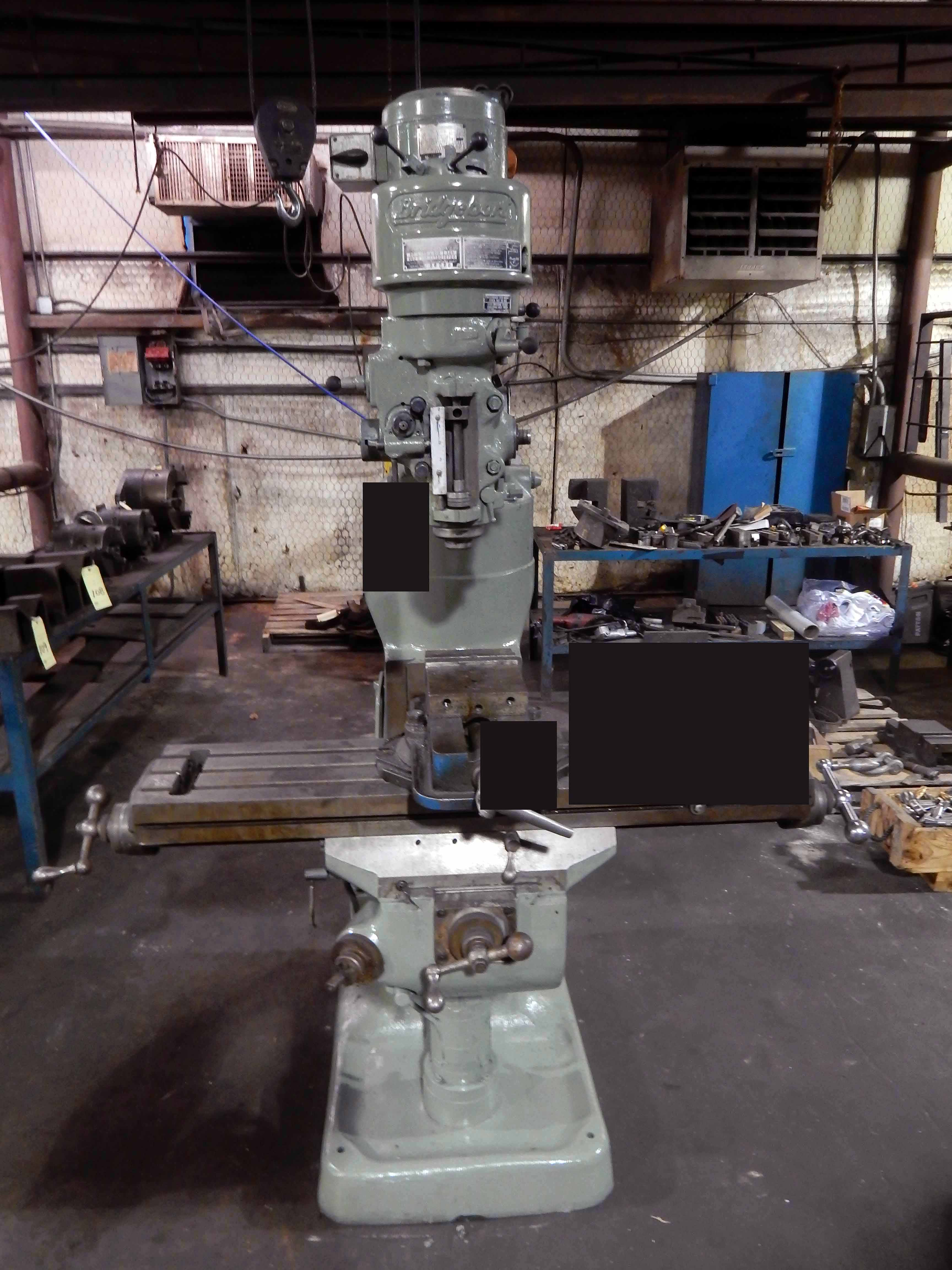"Lot 51 - VERTICAL TURRET MILL, BRIDGEPORT SERIES T J-HEAD, 9"" x 42"" table, R-8 spdl., 6"" swivel base vise ("