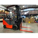"""TOYOTA ELECTRIC FORKLIFT MODEL 8FECU25, 278"""" HEIGHT CAPACITY, APPROX. 5,000 LB HEIGHT CAPACITY"""