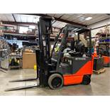 """TOYOTA ELECTRIC FORKLIFT MODEL 8FBCU25, 278"""" HEIGHT CAPACITY, 2017 BATTERY, APPROX. 5,000 LB CAP"""