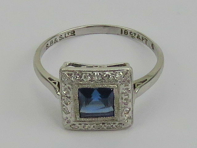 An Art Deco platinum and 18ct white gold