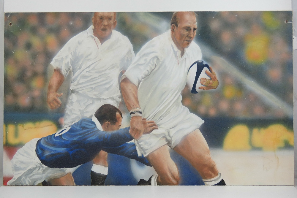 Lot 735 - Five large rugby club pictures on board,