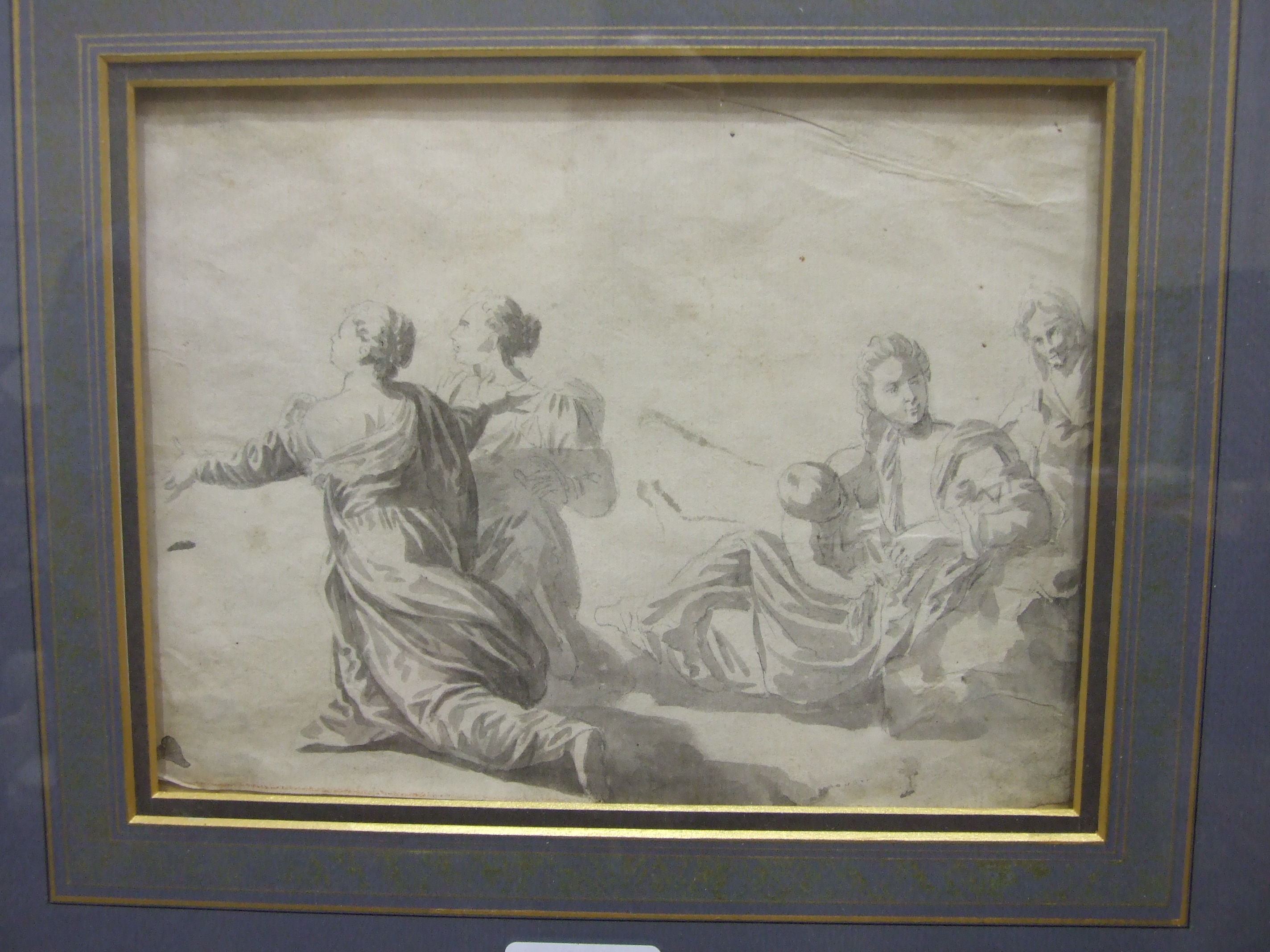 Lot 31 - 17th century Italian School, 'Mother and child with three attendant figures', unsigned wash