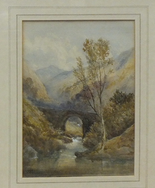 Lot 36 - WW, 'Bridge over woodland stream', watercolour, initialled, 23.5 x 17cm, together with an unsigned