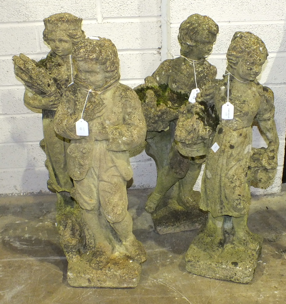 Lot 19 - A set of four cast concrete figures representing the four seasons, 79cm high, (4).