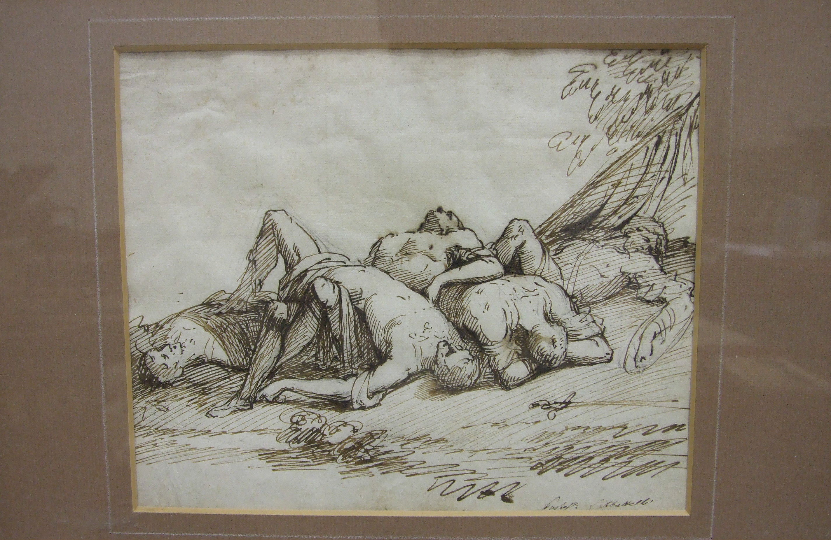 Lot 32 - Sabatelli, 'Wounded figures on a battlefield', ink drawing, bears signature, 17 x 21cm and another