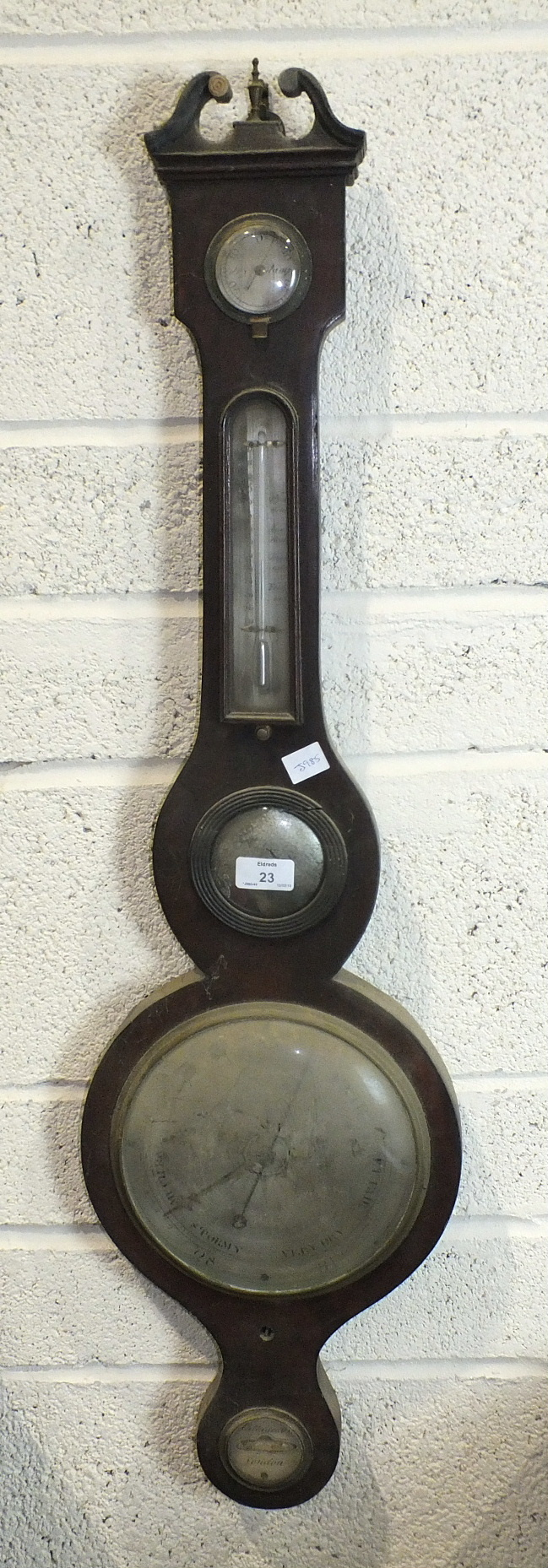 Lot 23 - A mahogany banjo barometer by P Cattaneo & Co, London, with silvered dials, dry/damp, thermometer