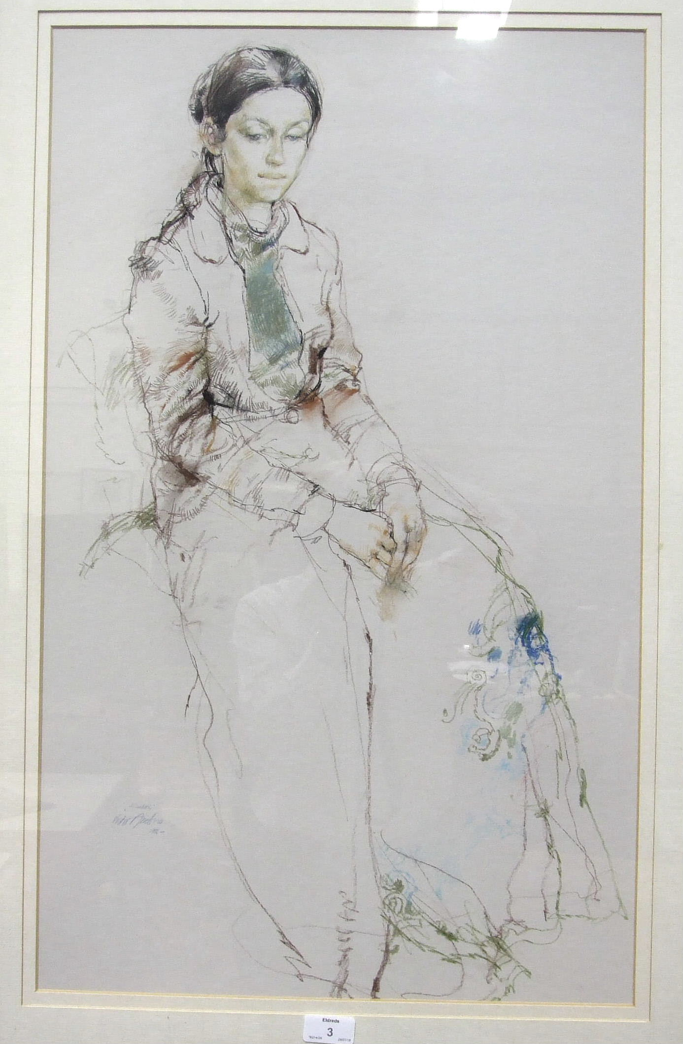 Lot 30 - •Victor Ambrus (b. 1935), 'Elizabeth, Study of a young woman, seated', signed pencil and crayon,