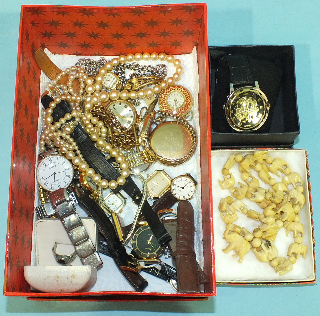 Lot 221 - A quantity of watches and costume jewellery.