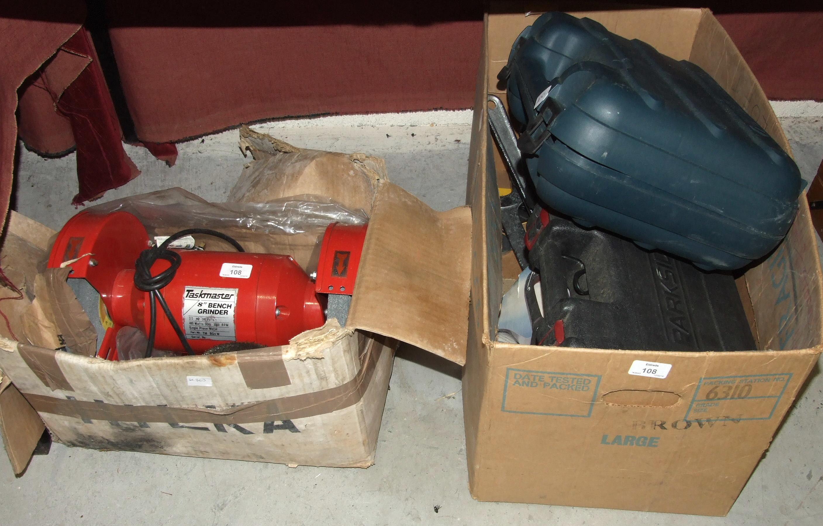 """Lot 108 - A Taskmaster 8"""" bench grinder, a Black & Decker KG75 angle grinder, a Parkside model making and"""