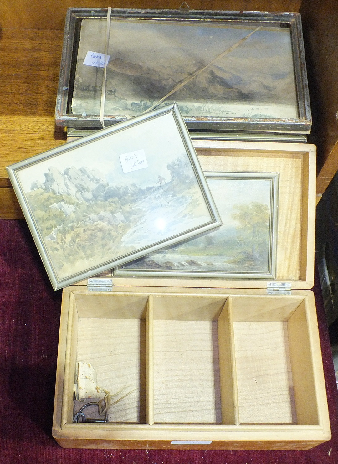 Lot 166 - A quantity of costume jewellery, five small watercolours, two oil paintings and miscellaneous